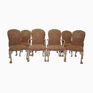 Art Deco Walnut Dining Chairs with Lion Hairy Paw Feet, Set of 8