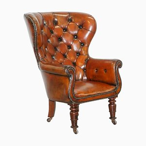 Regency Chesterfield Brown Leather Porters Armchair in the Style of Gillows