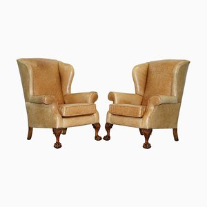 Victorian Walnut and Brown Leather Armchairs with Claw & Ball Feet, Set of 2
