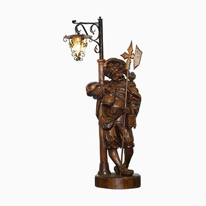 Black Forest Hand-Carved Wood Watchman Lamp, 1920s