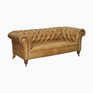 Viktorianisches Chesterfield Club Sofa aus Nussholz mit braunem Leder