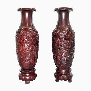 Große chinesische handgeschnitzte Zinnober Drachen & Vogel Vasen, 2er Set