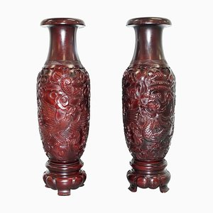 Large Chinese Hand-Carved Wood Cinnabar Dragon and Bird Vases, Set of 2