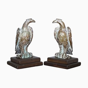 Bronze Religious Staff Finial Mounts of Hawks Mounted on 2-Step Base, Set of 2