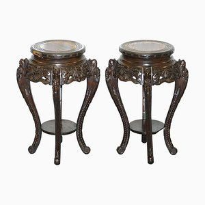 Chinese Carved Wood Dragon Jardiniere Stands, Set of 2