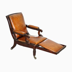 William IV Brown Leather Reclining Library Reading Armchair & Footstool