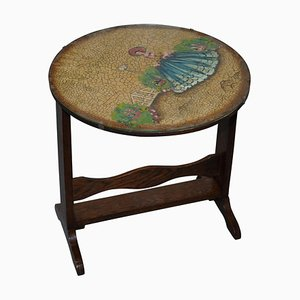 English Oak Tilt-Top Side Table with Hand-Painted Picture Glass