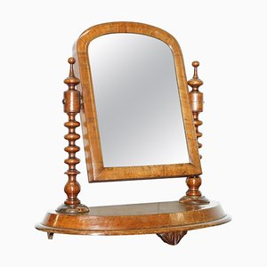 Georgian Walnut Cheval Tabletop or Dressing Table Plate Mirror