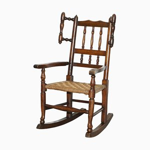 Small Antique Georgian Solid Elm Children's Rope Seat Rocking Chair