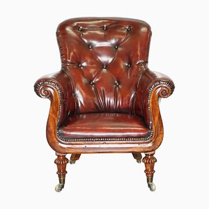 Regency Chesterfield Bordeaux Leather Porters Armchair in the Style of Gillows