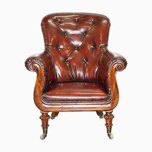 Regency Chesterfield Bordeaux Leder Porters Sessel im Stil von Gillows