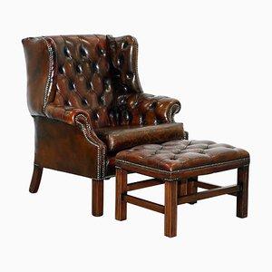 Vintage English Handmade Chesterfield Wingback Armchair & Footstool, Set of 2