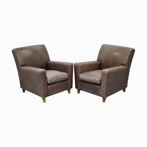 Italian Gray Leather Armchairs by Terence Conran, Set of 2