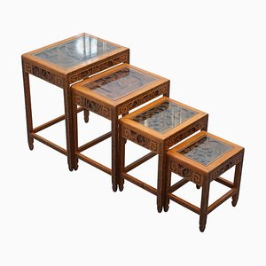 Chinese Carved Noblemen Dragon Boat and Flowers Scene Nesting Tables, Set of 4