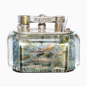 English Chrome Deep Sea Aquarium Table Lighter by Dunhill, 1950s