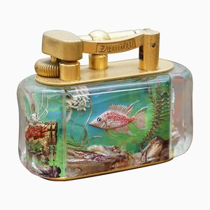 English Gold-Plated Aquarium Table Lighter by Dunhill, 1950s