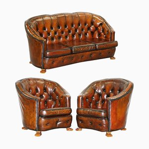 Brown Leather Curved Back Chesterfield Sofa & Armchairs with Lion Hairy Paw Feet, Set of 3