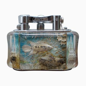 English Chrome Aquarium Oversized Table Lighter from Dunhill