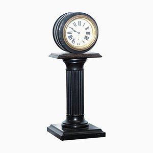 19th-Century Mantle Clock with Pedestal Column Base & Hand-Painted Porcelain Dial