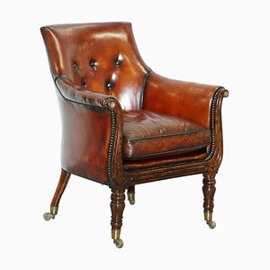 Regency Hand Dyed Brown Leather & Hand-Painted Armchair Attributed to Gillows
