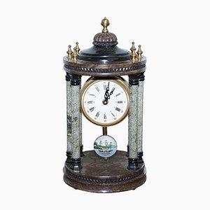 Vintage Marble Pillared Clock with Working Pendulum Movement & Nautical Theme