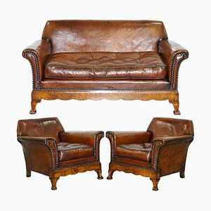 Marquetry Walnut Inlay and Brown Leather Sofa & Armchairs by Thomas Chippendale, Set of 3