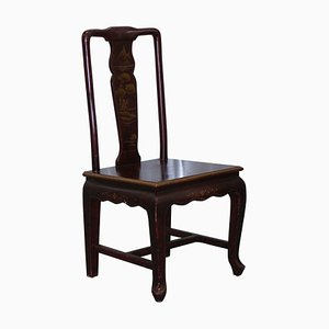 Antique Chinese Lacquered Chair with Bonsai Tree Details