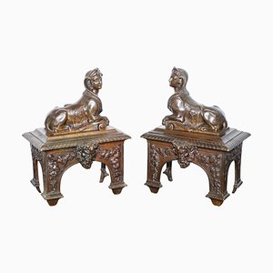 Early Louis XVI French Bronze Chenets with Recumbent Sphinx, Set of 2