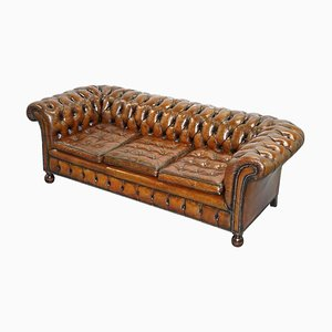 Fully Sprung Aged Brown Leather Chesterfield Sofa from Thomas Chippendale
