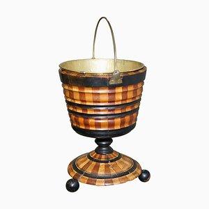 Biedermeier Brass Lined, Maple & Ebony Peat Bucket for Coal