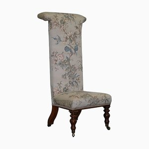 Victorian Hardwood Prayer Chair with Silk Floral and Birds Upholstery