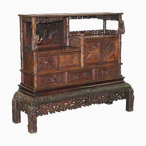 Antiker handgeschnitzter chinesischer Schrank mit Affen & Schubladen