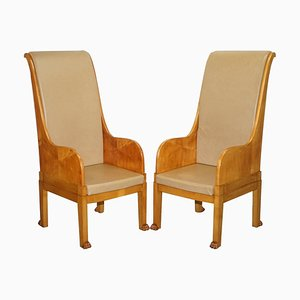 Large Vintage Leather Solid Walnut Throne Armchairs with Lion Hairy Paw Feet, Set of 2