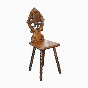 19th Century Black Forrest Hand-Carved Hawk Bobbin Turned Hall Chair