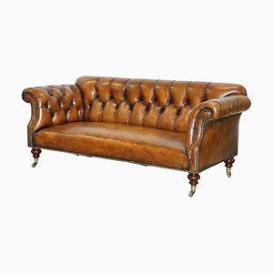 Victorian Brown Leather Chesterfield Sofa from Howard and Sons