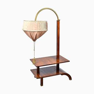 Großer Art Deco Beistelltisch aus Nussholz mit eingebauter höhenverstellbarer Lampe