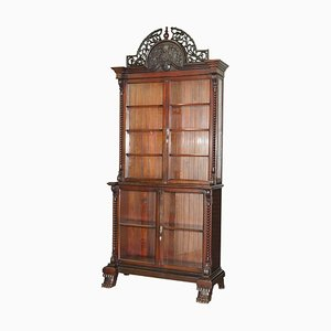 Large Victorian Hardwood Hand-Carved Wood Library Bookcase Ornate