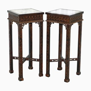 Chinese Style Marble & Carved Wood Jardinière Stands by Thomas Chippendale, Set of 2