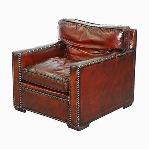 Vintage Handmade Chelsea Bordeaux Leather Armchair