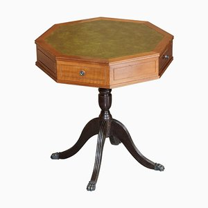 Regency Style Hardwood Green Leather Side or Wine Drum Table with Drawers