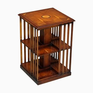 Burr Yew & Satinwood Revolving Bookcase Side End Table