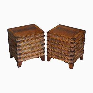 Vintage Hardwood Stacking Books Side Tables with Internal Storage, Set of 2