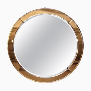 Art Deco Amber / Peach Glass Round Bevelled Wall Mirror