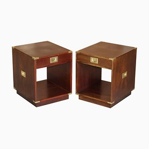 Double-Sided Hardwood Campaign Side Table Drawers, Set of 2