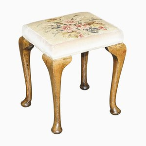 Antique Victorian Walnut Embroidered Dressing or Piano Stool
