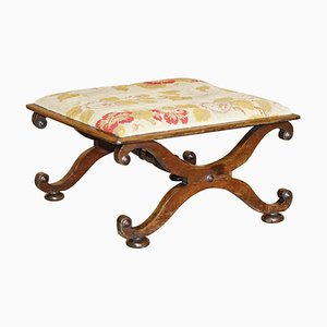 Antique William & Mary Style Walnut Embroidered Footstool