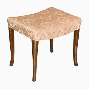 Victorian Antique Walnut Damask Dressing or Piano Stool with Curved Legs