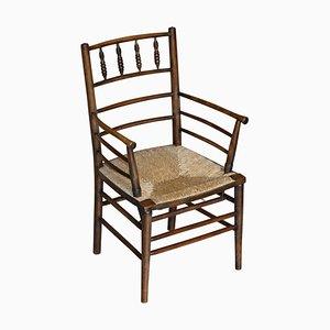 Antiker V&A Museum Rush Seat Sussex Sessel von William Morris