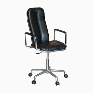 Chrome and Black Leather Office Armchair by Frederick Scott for Hille