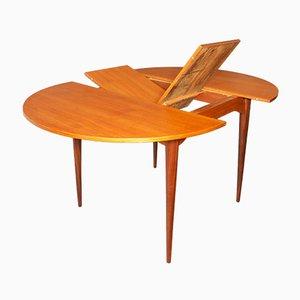 Mesa de comedor extensible Mid-Century circular de teca, años 60